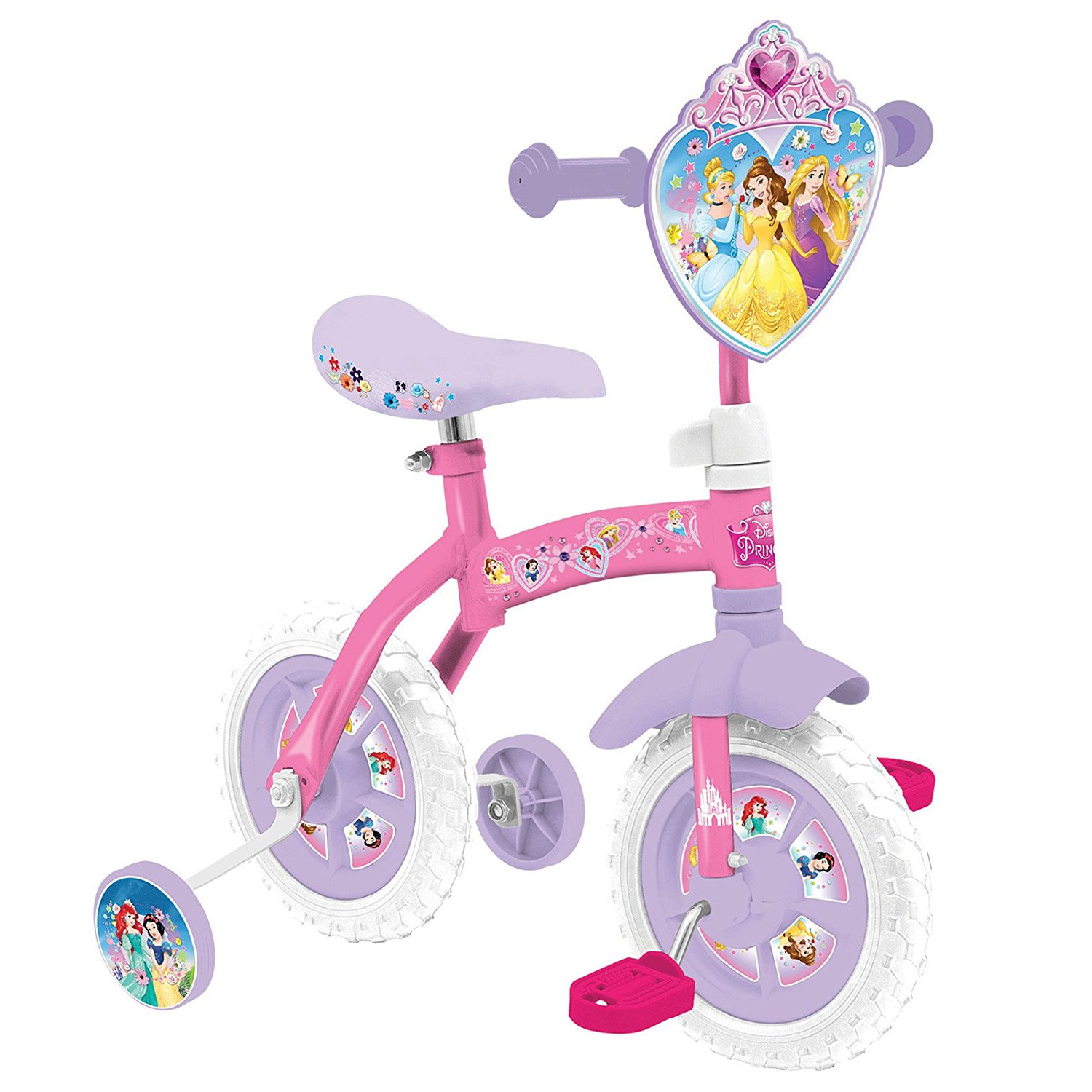 Girls Official Disney Princesses 2 In 1 10 Balance & Pedal Mode Training Bike