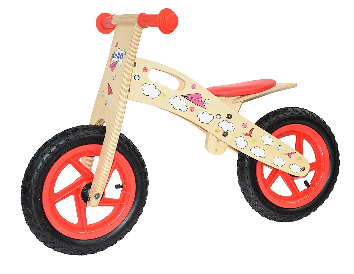 KIDS WOODEN BALANCE TRAINING BIKE CYCLE IN MULTI COLOURS