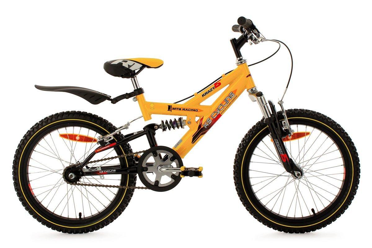Kids Mountain Bike 18 Inch Krazy Full Suspension Yellow KS Cycling